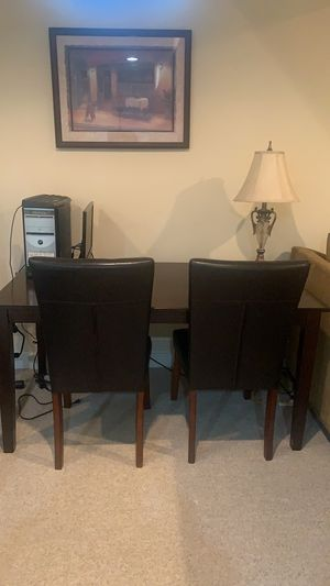 Hardwood Table & 4 Leather Chairs for Sale in Gainesville, VA