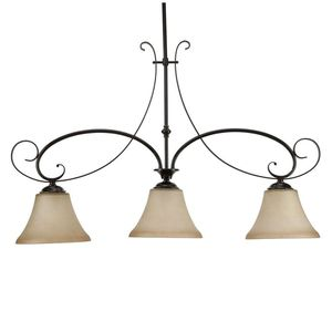 Essex 3-Light Aged Black Kitchen Island Light with Tea Stained Glass Shade for Sale in Dallas, TX