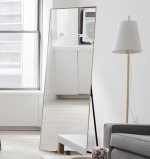 Gold Aluminum Alloy Thin Frame Full Length Floor Mirror Standing Hanging or Leaning Against Wall for Sale in Dallas, TX