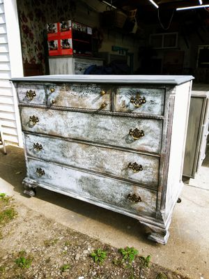 Rustic Antique Chest Of Drawers on Wheels! Textured in many shades! 44W x 21D x 37H. HUGE! for Sale in Joliet, IL