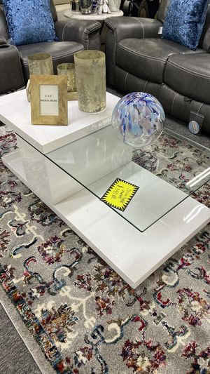Let is Spin White SWIVEL Coffee Table With Glass X 2W for Sale in Euless, TX