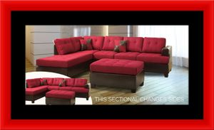 Red sectional free ottoman and delivery for Sale in Alexandria, VA