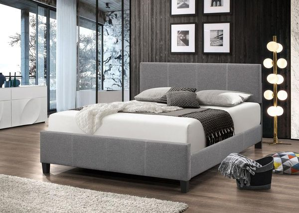 Brand New Full Size Grey Linen Upholstered Platform Bed Frame