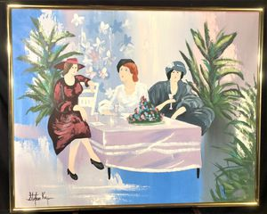"""STEPHEN KAYE – ORIGINAL OIL PAINTING ON CANVAS – LADIES AT AN OUTDOOR CAFE – SIGNED WITH GOLD FRAME – 52"""" x 42"""" for Sale in Glen Allen, VA"""