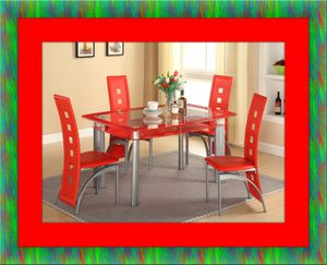 Glass red dining table with leather chairs for Sale in Ashburn, VA