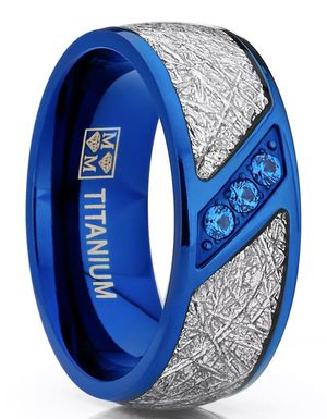 Blue Titanium Wedding Band Imitation Meteorite Ring Blue Cubic Zirconia Size 7,9,10 for Sale in Los Angeles, CA
