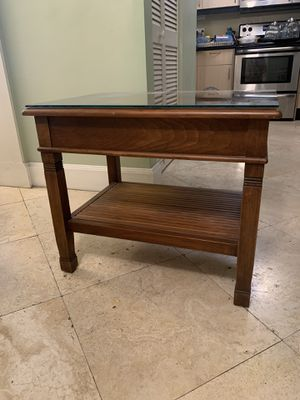 Glass Covered Wooden Table with Shelf for Sale in Coral Gables, FL