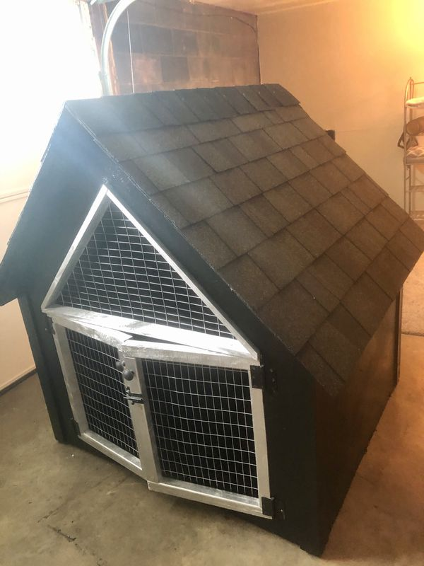 Black with silver accent large dog house/coop/bunny house