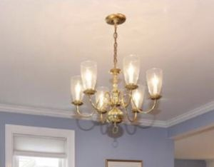 Real Brass chandelier with 6 globes for Sale in Cambridge, MA