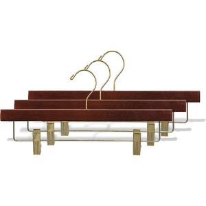 100 clip hangers pants skirts wood walnut brass gold for Sale in West Bloomfield Township, MI