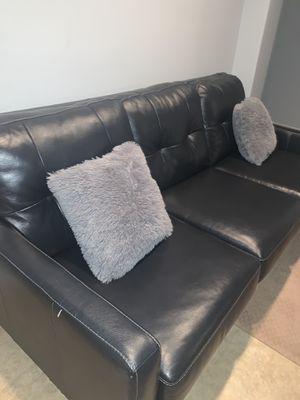Contemporary Black Leather Sofa for Sale in Chiriaco Summit, CA