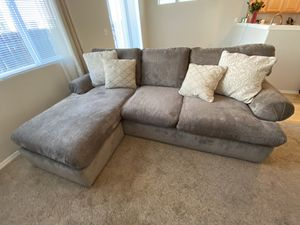 Barely used down feather micro fiber sectional with chaise for Sale in Portland, OR