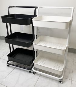 $35 each New in box 3-tier shelf utility cart mobile storage organizer 17x14x34 inches rolling wheels for Sale in Pico Rivera,  CA