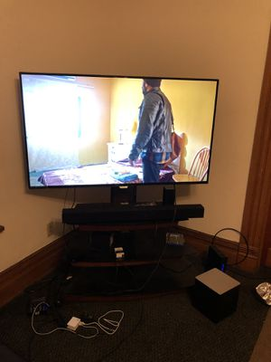 55 inch Philips Smart TV with VIZIO sound bar system and a TV Stand for Sale in Marietta, OH