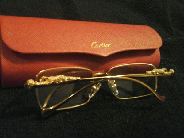 d88e5ccc1f21c Cartier Gold Exclusive Eyeglass Frames Vintage with Cheetah on sides ...