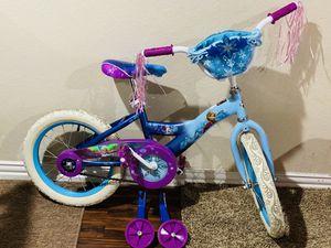 "Huffy 16"" Disney Frozen Girl Bike with Training Wheels Blue/Purple for Sale in Plano, TX"