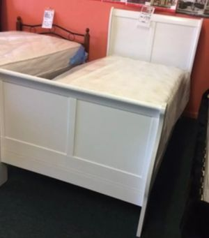 Brand New Twin Size White Wood Sleigh Bed Frame ONLY for Sale in Silver Spring, MD