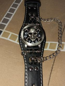 Skeleton Wrist Watch Skeleton Face Brass Silver Chain for Sale in Eastpointe,  MI