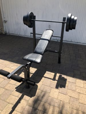 Bench press with Barbell and 100 lb Weight Set combo with leg developer for Sale in Pico Rivera, CA