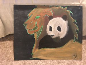 Canvas painting of a lion and panda. for Sale in Portland, OR