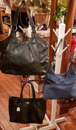 Pre-owned in nice condition, clean handbags with open centers.. Black tote 10x10x4 -11in drop Black sachel bag 12x12x3-9in drop Liz Claiborne 10x11 for Sale in St. Louis, MO