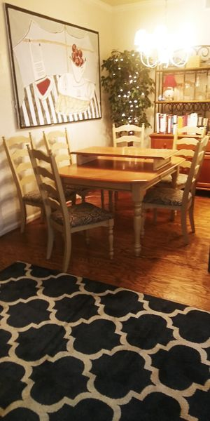 Large dining room table 6 chairs and leaf for Sale in Plano, TX