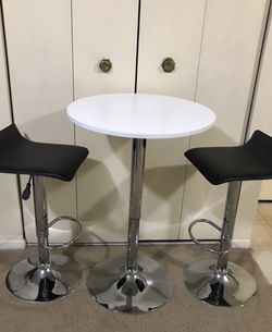 Available Palmas 3 Pc Dining Set Swivel Adjustable Table & Chairs $150 Retail $379 View All Photos Pick Up Gaithersburg Md20877 Cash Only for Sale in Gaithersburg,  MD