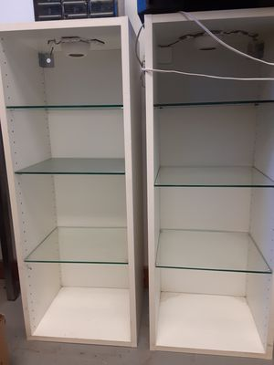 2 stands with glass shelves and optional led lights. Pair or individual for Sale in Charlottesville, VA