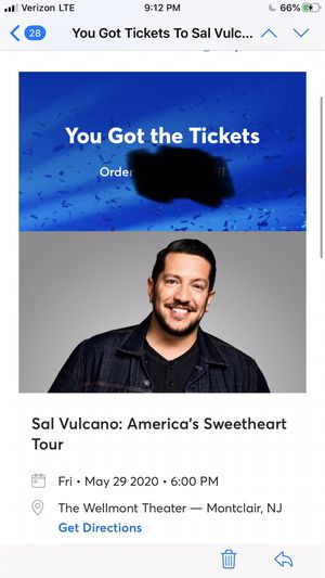 Sal Vulcano tickets May 29th for Sale in Manasquan, NJ