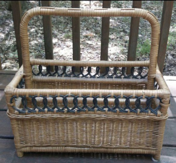 Vintage Wicker Rattan Bamboo Basket Magazine Holder Storage Rack Organizer