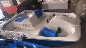 Title: Sun Dolphin 5 Seat Sun Slider Pedal Boat with Canopy, Blue (SHIPPING DAMAGE SEE THE PICTURES) for Sale in Houston, TX