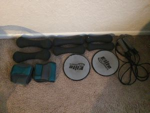Set of 3 lb, 5 lb, and 8 lb dumbbells with elite core sliders ankle weights , jump rope and manual treadmill for Sale in Seminole, FL