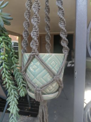 Macrame plant hanger green and brown pot included for Sale in Orlando, FL
