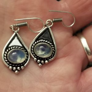 Brand New Solid 925 Silver Earrings With Rainbow Moonstone. for Sale in West Valley City, UT