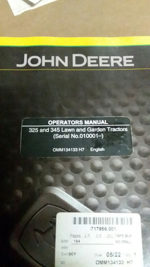 John deer manual for Sale in Valparaiso, IN
