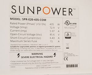 Sunpower 435 watt solar panel for Sale in Whittier, CA