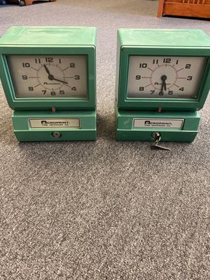 2 Vintage Acroprint Time Recorder Auto Punch Card Clock One with Key - price for both for Sale in Ontario, CA