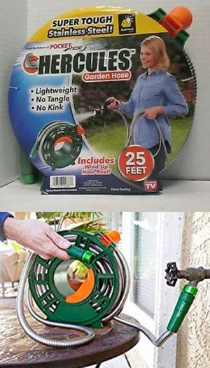 New in box 25 feet Hercules stainless steel water hose with wind-up reel as seen on TV for Sale in Whittier, CA