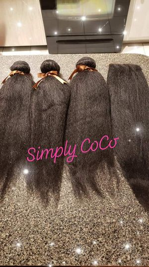 3 Kinky Straight 20 inch Bundles with free part lace closure for Sale in Silver Spring, MD