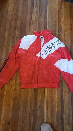 Medium Men's Red and White Adidas Jacket like new for Sale in Wichita, KS