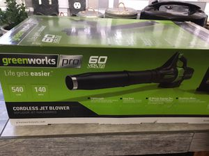 New GreenWorks Pro Cordless Jet Leaf Blower 60 Volt lithium ion BL60L2510 for Sale in Greensboro, NC