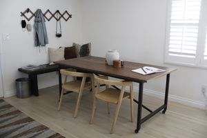 Large communal table / dining table or desk — metal and solid wood for Sale in Los Angeles, CA