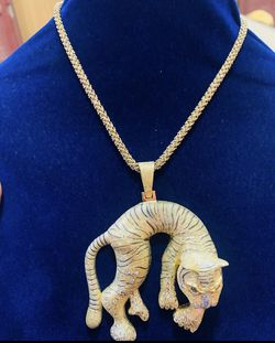 24k tigers gold pendant with neck chain for Sale in Nashville,  TN