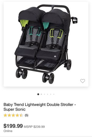 Baby Trend Lightweight Double Stroller -Super Sonic for Sale in Los Angeles, CA