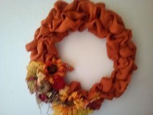 "Fall 16"" orange burlap frayed wreath for Sale in Roanoke, VA"