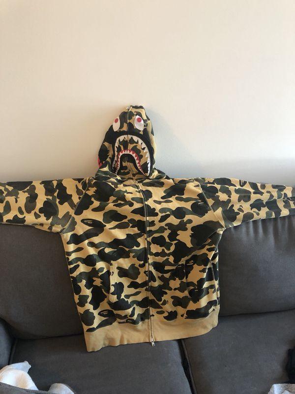BAPE 1st Camo Shark Full Zip Hoodie (FW18) Yellow