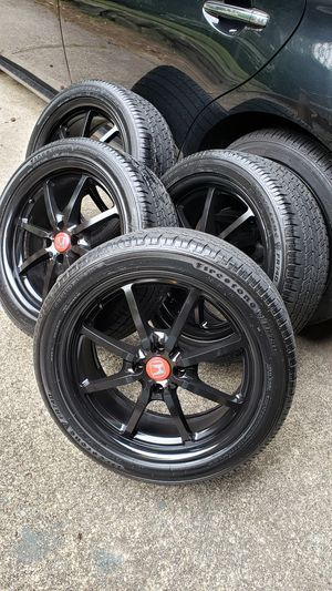 17 inch 4 lug Gloss black TRW racing wheels rims with excellent TIRES 80% good tires 225 45 17 very clean for Sale in University Place, WA