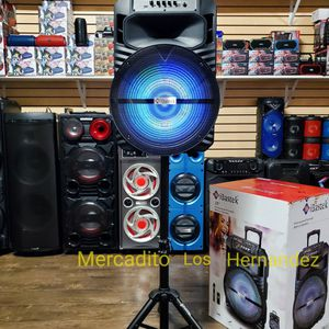 """Bluetooth Speaker 15"""" Wireless Mic 🎤 Stand Included Fully Loaded - NEW MODEL/ BEST DEAL / USB/MICRO SD/AUX -Super Potente 🔊 !!! Rechargeable 🔋 +++ for Sale in Compton, CA"""