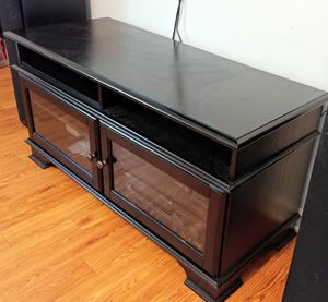 Black TV Stand with Storage for Sale in Winston-Salem, NC