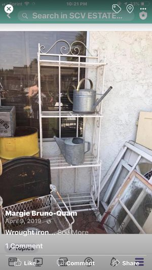 White wrought iron bakers rack $80 pick up in Canyon country crossposted MQ for Sale in Canyon Country, CA